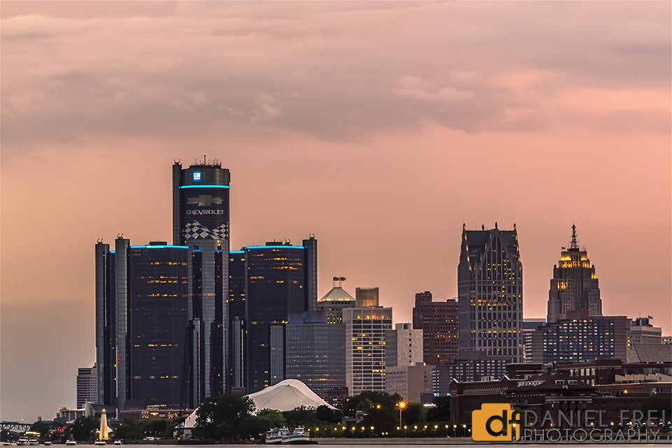 Detroit Skyline at Dusk